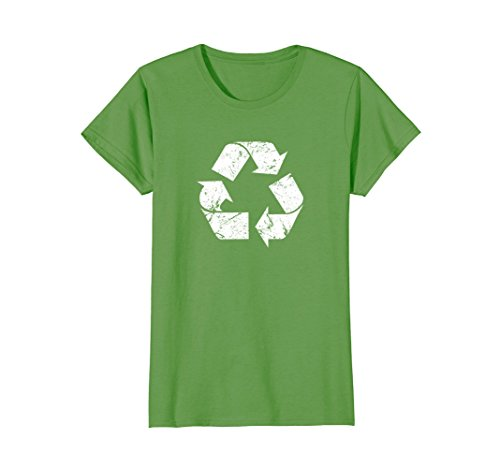 Womens Earth Day Vintage White Recycle T-Shirt Large Grass
