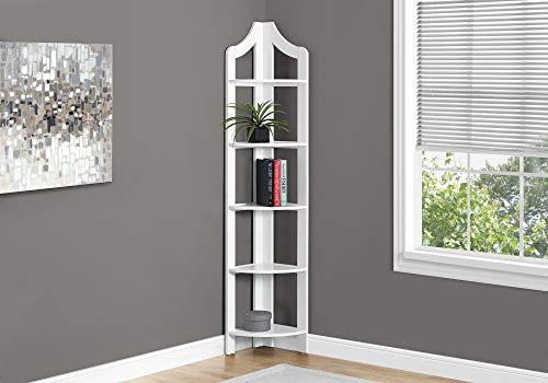 (Monarch Specialties Corner Accent Etagere Bookcase in White)