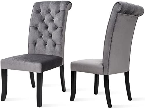 Harper Bright Design Tufted Armless Upholstered Accent Chair Set of 2 Grey , Gray