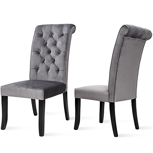 Merax Fabric Dining Chairs, Set of 2 Leisure Padded Tufted Parsons Armless Chair with Solid Wood Legs, Gray (Gray Dining Chairs Wood)