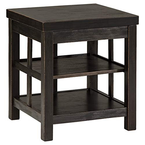 Signature Design by Ashley Gavelston Square End Table Rubbed Black