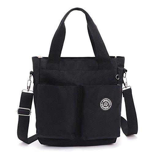 Hynbase Women's Cross Boby Hangbag Casual Waterproof Nylon Hobos Shoulder Bag Black