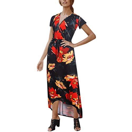 Jordan Skirt Chiffon - Respctful✿Women Chiffon Floral Dress Casual Short Sleeve Maxi Long Dresses Summer Deep V Neck Ruffle Hem Dress Red