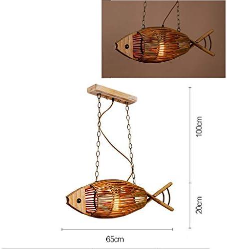 1yess Simple Art Chandelier Bamboo Wooden Fish Art Chandelier Original Color Beads -E27 * 1
