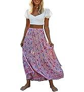 MEROKEETY Women's Boho Floral Print Elastic High Waist Pleated A Line Midi Skirt
