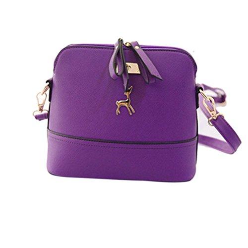 ?Tefamore New Women Messenger Bags New Vintage Small Shell Leather Handbag Casual Bag Purple