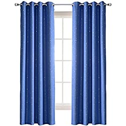 Jaoul Star Kids Blackout Curtains, Grommet Top Window Drapes for Bedroom, 1Panel, 52x96 Inch, Blue