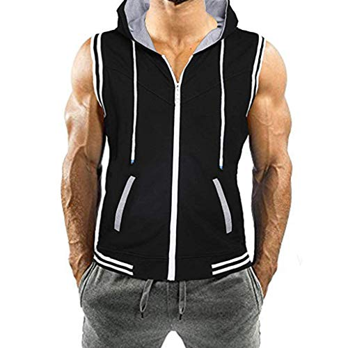 YAYUMI 2019Men's Hooded Jacket with Stitched Line Pockets and A Colored Sleeveless Vest -