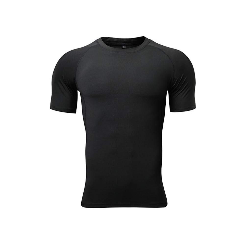 Kompressionsshirt Herren,Schnelltrocknende Fitness-Laufbekleidung für Herren, elastisches T-Shirt mit Rundhalsausschnitt und eng anliegende, atmungsaktive Sport-Kurzarmshirt,Shirt Kurzarm Funktionssh