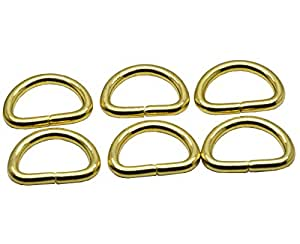 Okones 8Pcs,1'' Inner Width,Solid Brass Opening D Ring for Straps Bags Purses Belting Leathercarft (insides 1'')