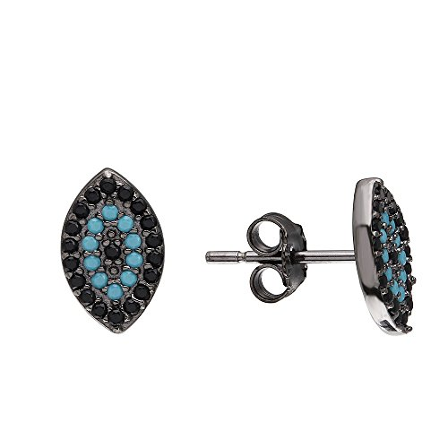 Black Cubic Zirconia and Simulated Turquoise Stones Evil Eye Earrings Black Rhodium Sterling Silver