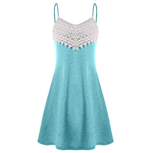 - Caopixx Womens Mini Dress Crochet Lace Halter Mini Slip Dress Sleeveless T-Shirt Dresses (Asia Size 2XL=US Size XL, Sky Blue)