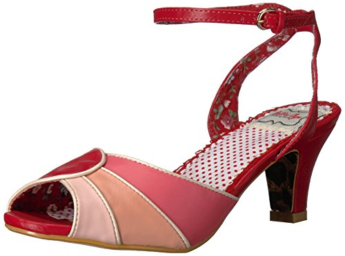 Bettie Page Women's Bp250-Abela Heeled Sandal, Red, 7 M US