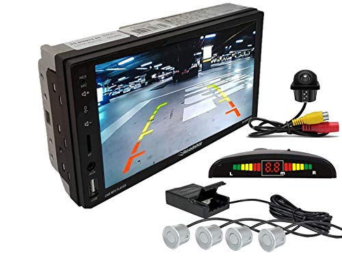 Multimidia Mp5 RS-505MP5 Com Câmera De Ré RS-122BR E Sensor De Estacionamento RS-104BR PRATA