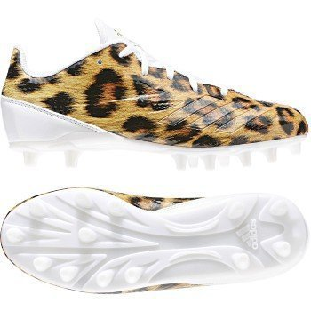 adidas Adizero 5Star 6.0 Cleat Kid's Football 5.5 Leopard-White-Metallic Gold-Black