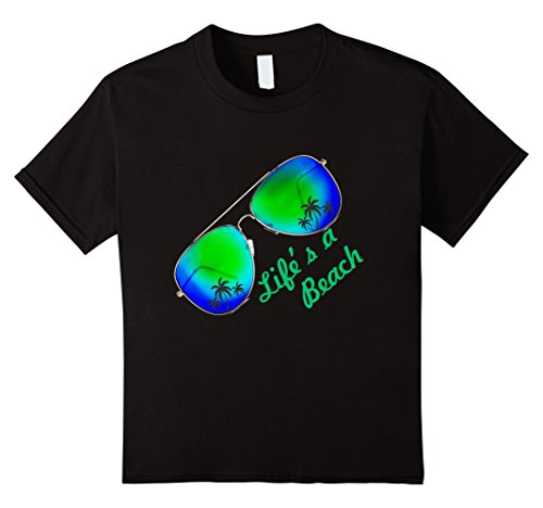 Kids LIFE IS A BEACH T-SHIRT Life's a beach tee Summer Sunshine 12 Black (T-shirts Life Young)