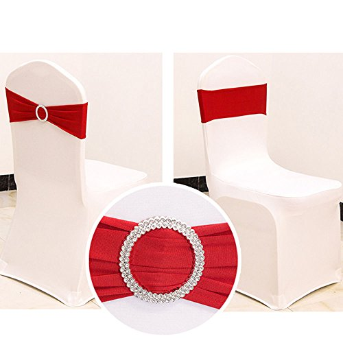 (2013Newestseller 50PCS Spandex Chair Sashes Bows Elastic Chair Bands With Buckle Slider Sashes Bows For Wedding Party Ceremony Reception Banquet Decorations (Red))