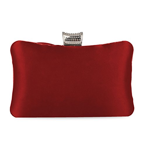 Satin Kaever For Women Party Case Rhinestones Wedding Evening Clutch Hard Purse Purses Red Pleated Bag Clutch FSqwSB