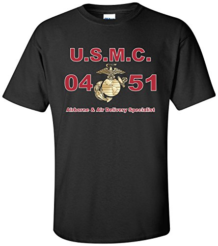- United States Marine Corps MOS 0451 Airborne & Air Delivery Specialist T-Shirt Black