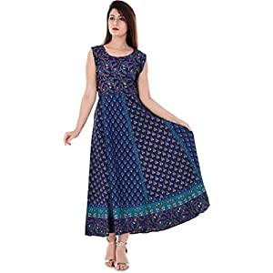 Monique Brand Women's/Girls Cotton Traditional Rajasthani Jaipuri Printed Maternity Summer Long Gown Middi Maxi Dress…