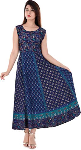 Monique Brand Women's Long Jaipuri Mandala Printed Midi Maxi Dress (MONIMDIBUTY-NB14_Free Size_) Navy Blue