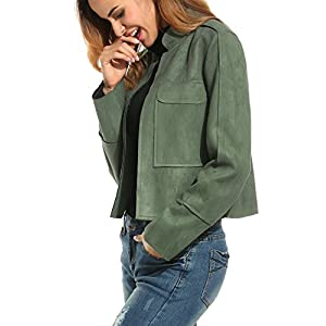 Zeagoo Women's Faux Suede Open Front Pocket Slim Short Casual Jacket Coat (Small, Army Green)