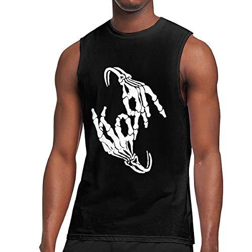 - H-Softsneakers Korn Band Skeleton Sign Bone Logo Sleeveless Tshirt T Shirt for Men Black