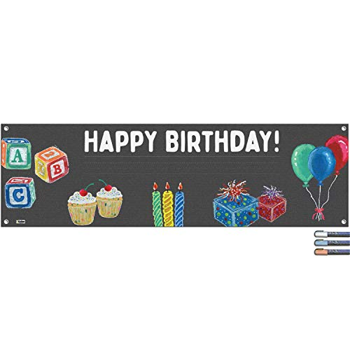 Cohas Basic Designs Happy Birthday Banner Includes 16 by 52 Inch Vinyl Banner with Metal Hanging Rings, Additional Text Guidelines, and 3 Pastel Markers
