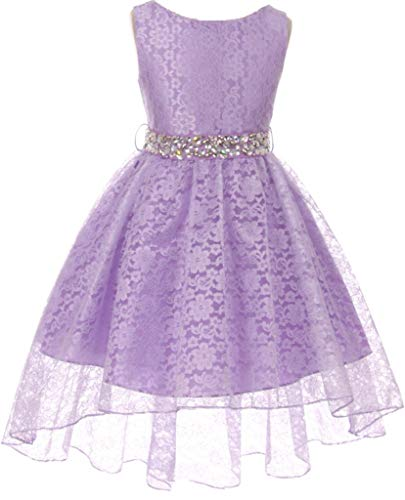 Big Girl Floral Lace Rhinestones Christmas Holiday Easter Flower Girl Dress Lilac 10 MBK360