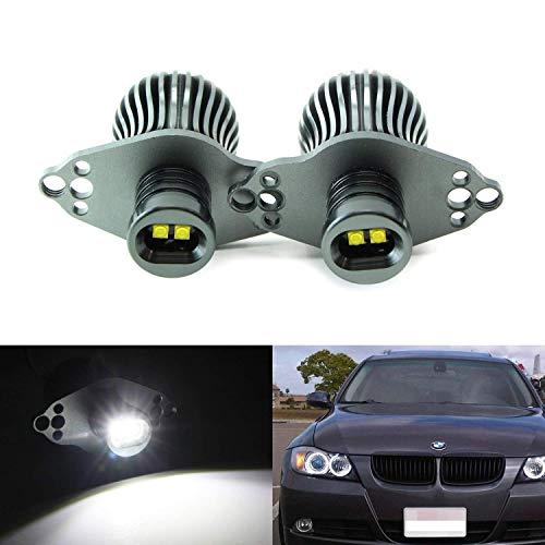 iJDMTOY LED Angel Eye Marker Bulbs For 06-08 BMW E90 3 Series HID Xenon Headlights & 09-12 BMW 3 Series LCI Standard Halogen Headlights, Powered by 20W Xenon White High Power CREE LED Light (Angel Eyes Hid)