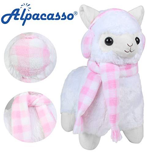 Alpacasso 17 White Plush Alpaca, Cute Stuffed Animals Toys.(Scarf and Earmuff)