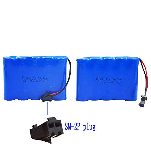 Blomiky 6.0V 700mAH Ni-Cd Battery for Amphibious Stunt RC Cars 4WD 1/18 High Speed RC Buggy Vehicle GS02 Battery 2 Pack