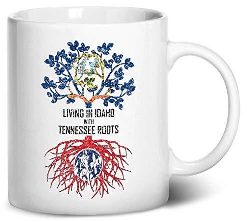 Tenacitee Living In Idaho with Tennessee Roots Coffee Mug, 11oz, White ()