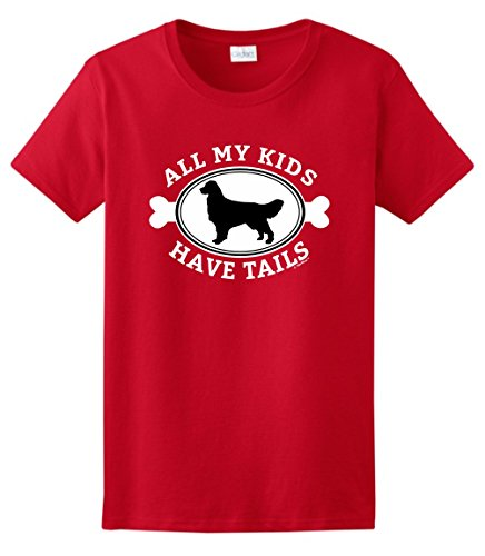 (Golden Retriever Lover Gifts Golden Retriever Gifts All My Kids Have Tails Ladies T-Shirt Small Red)