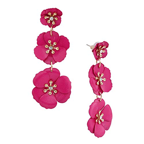 NVENF Flower Drop Earrings Triple Metal Matte Flower Dangle Earrings Petal Pierced Earrings for Women (Hot Pink)