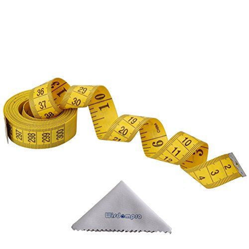Wisdompro120-Inch(300cm) Soft Tape Measure for Sewing Tailor Cloth, Body Measurement - Indexed in Metric and Standard Units, Convenient 0.75 Inch Wide PVC Fiberglass Cloth - Yellow ()