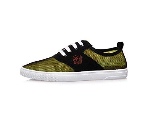 HYLM Verano Los nuevos zapatos netos Hombres zapatos al aire libre casual bajo para ayudar con zapatos de malla Zapatos planos Zapatos transpirables Yellow