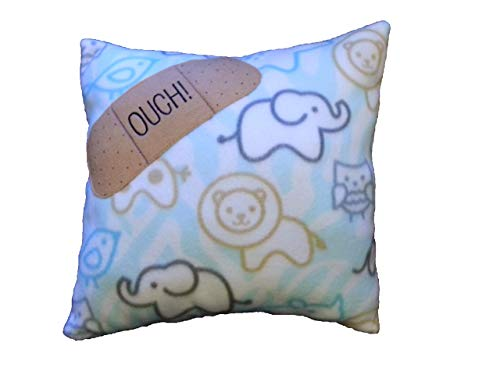 Get Well Pillow - Child Print Ouch Blue Fleece, Handmade