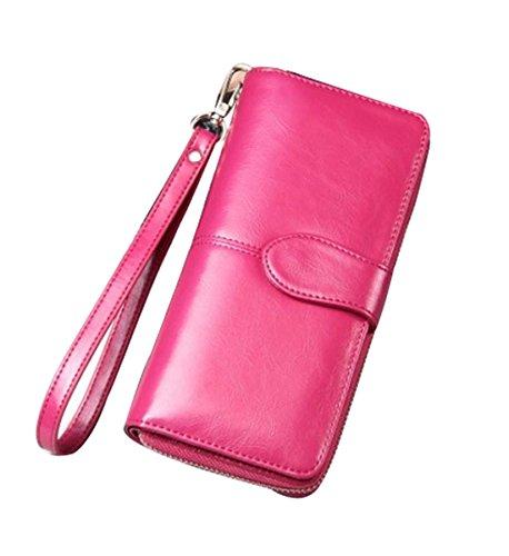 Women's RFID Blocking Large Capacity Wax Clutch Wallet Card Holder Organizer Ladies Purse (Rose (Ladies Red Rose)