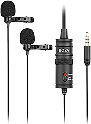 Microfone de Lapela Duplo BOYA BY-M1DM, Omni Direcional - Preto