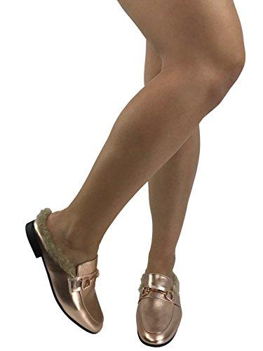 Paprika Da Donna Slip On Mocassini Backless Punta Chiusa Tacco Basso Schiena Aperta Mule Oro Rosa Con Pelliccia