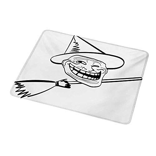 Desktop Mousepad Humor,Halloween Spirit Themed Witch Guy Meme LOL Joy Spooky Avatar Artful Image Print,Black and White,Non-Slip Rubber Mousepad 9.8