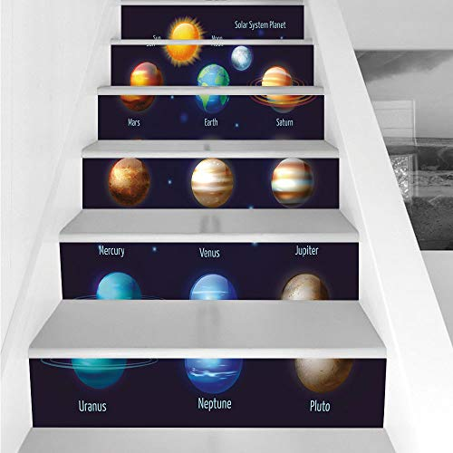 Stair Stickers Wall Stickers,6 PCS Self-Adhesive,Educational,Solar System Planets and The Sun Pictograms Set Astronomical Colorful Design,Multicolor,Stair Riser Decal for Living Room, Hall, Kids Room by iPrint
