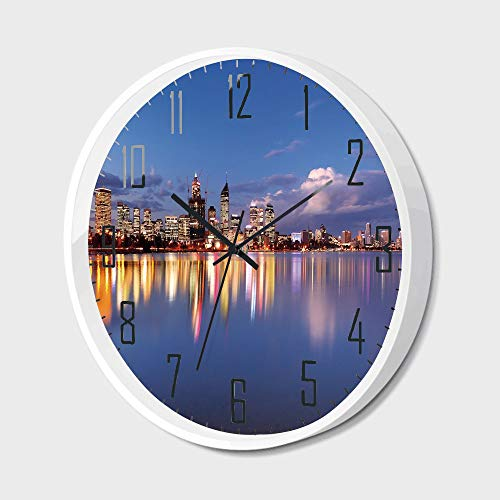 Silent Wall Clock Non Ticking Metal Frame HD Glass Cover,Modern,Skyline of Perth -