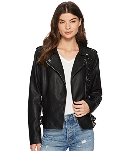 Buckle Front Jacket (Members Only Women's Vegan Leather Laced Biker Jacket, Black/Chest Lace, Large)