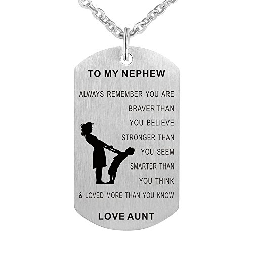 Aunt to My Nephew Always Remember You are Braver than You Believe Gift Jewelry Dog Tag Keychain Pendant Necklace