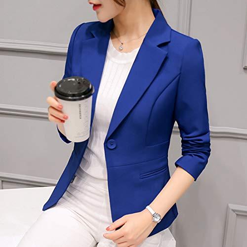 Cardigan Jacket Tailleurs De Blazer Outwear Fashion Casual Revers Manteau Femmes Manches Bleu Unie Royal Smalltile Printemps Slim Automne Vestes Longues Haut Couleur Blousons Coat Y1Aqwx80