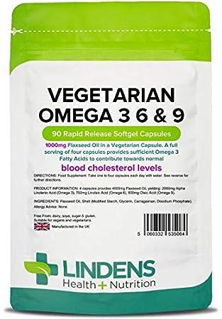 Lindens Linaza vegetariana Omega 3 6 y 9 1000 mg en cápsulas | 90 Paquete | Especialmente formulada para veganos y vegetarianos; contribuye al mantenimiento ...