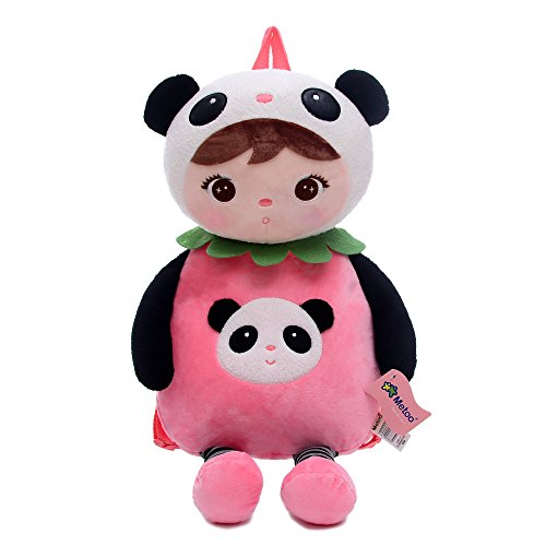 Me Too JIBAO Cartoon Plush Backpack School Kids Children Shoulder Bags (Panda Girl)