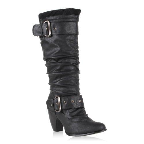 Damen Klassische Stiefel Leicht Gefütterte Schuhe Boots Holzoptik Absatz Basic Booties Leder-Optik Trichterabsatz Flandell Schwarz Strick